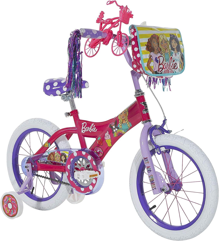 Dynacraft Barbie - Bicicleta de calle BMX para niña (40,6 cm), color rosa, blanco y morado