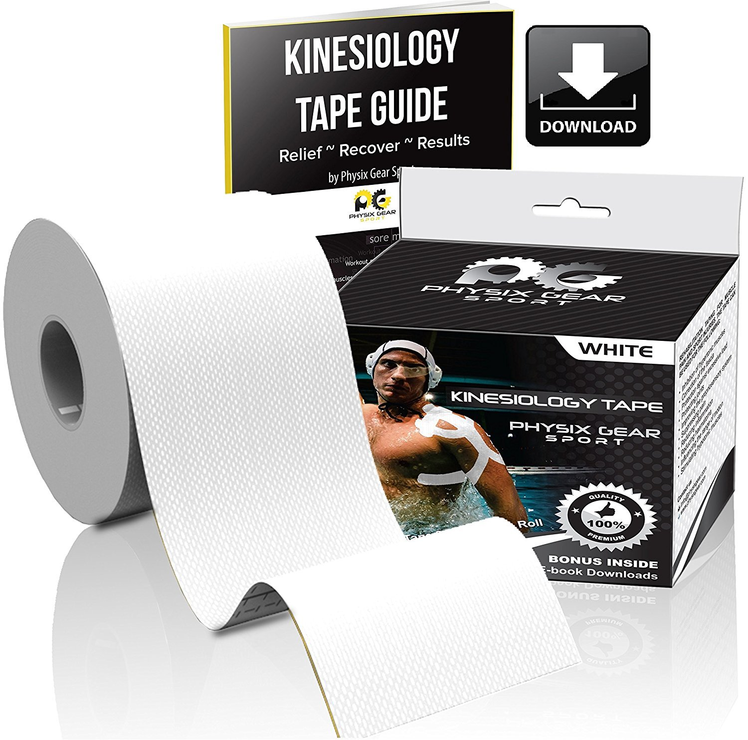 Physix Gear Sport Kinesiology Tape - Free Illustrated E-Guide - 16ft Uncut Roll - Best Pain Relief Adhesive for Muscles, Shin Splints Knee & Shoulder - 24/7 Waterproof Therapeutic Aid (1PK WHT) by Physix Gear Sport (Image #2)