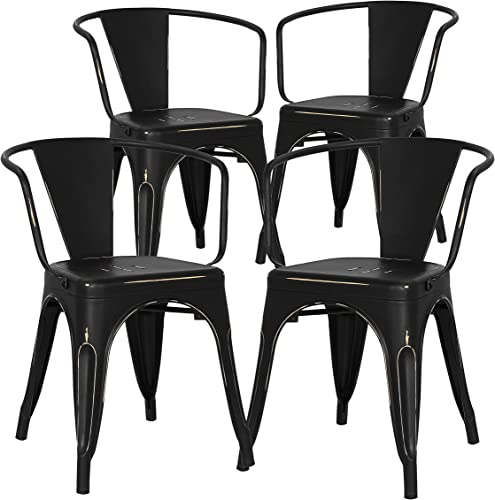 Poly and Bark Trattoria Arm Chair in Distressed Black Set of 4