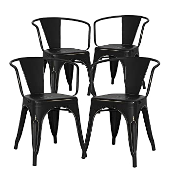 Prime Poly And Bark Trattoria Arm Chair In Distressed Black Set Of 4 Bralicious Painted Fabric Chair Ideas Braliciousco