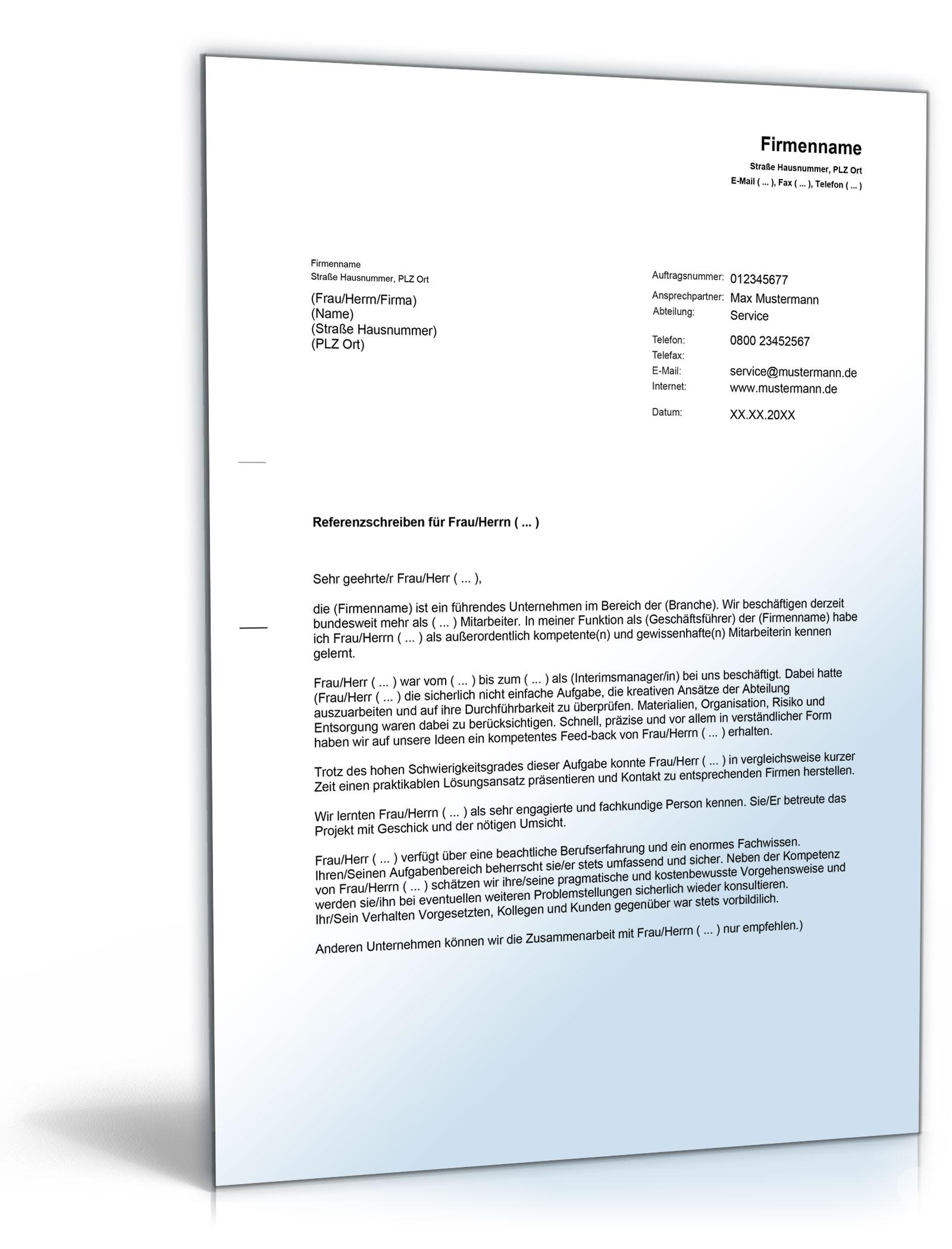 Referenzschreiben Für Freie Mitarbeiter Word Dokument Amazonde
