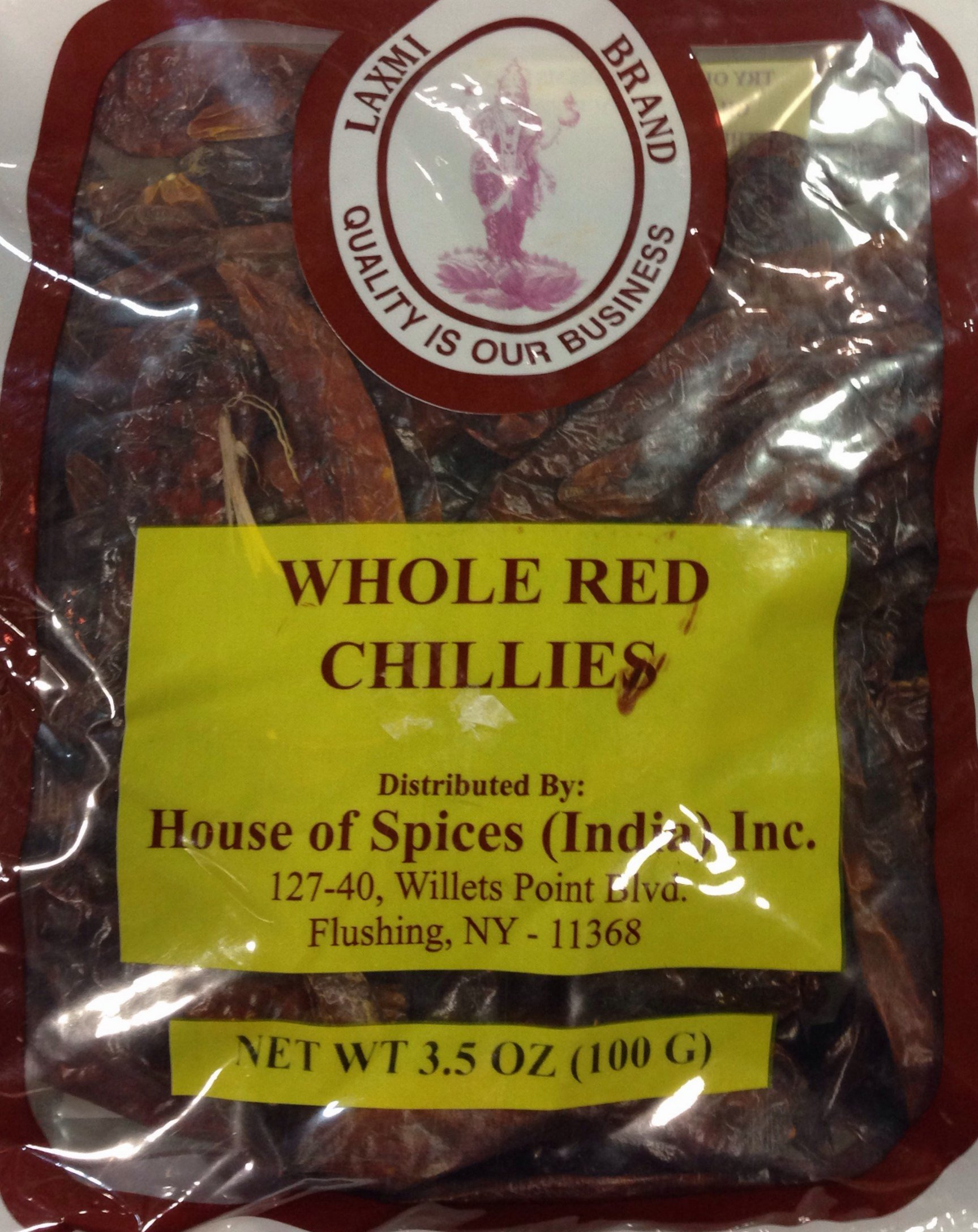 Laxmi Whole Red Chillies for Traditional Indian Cooking - 3.5oz