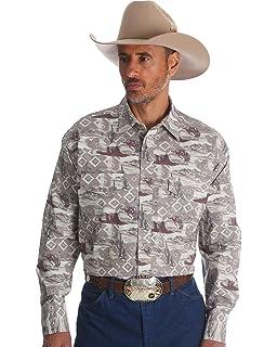Wrangler Mens Khaki Checotah Horse Print Long Sleeve Shirt - Mc1226m