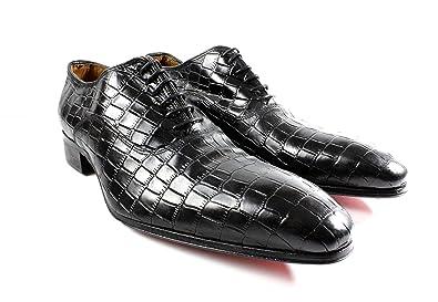 8e077dc25b6 Black Crocodile Embossed Handmade Men Italian Leather Dress Shoes Oxford  Shoes by Ivan Troy (