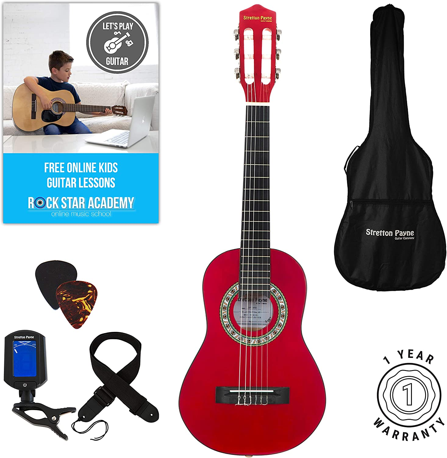 Star Kids Acoustic Toy Guitar 23 Inches Color Hot Pink MG50-HPK