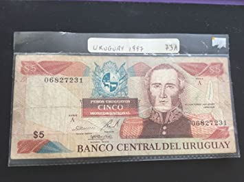 Uruguay 5 Pesos 1997 Número de serie A 06827231