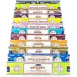 Satya Nag Champa OM Shanti Lot de Lot de B 12x 15gram Comprend: Nag Champa, Super Hit, OM Shanti, Oodh, Positive Vibes, Namaste, Champa, Opium, Reiki, Guérison spirituelle, Karma, traditionnel ayurvédique