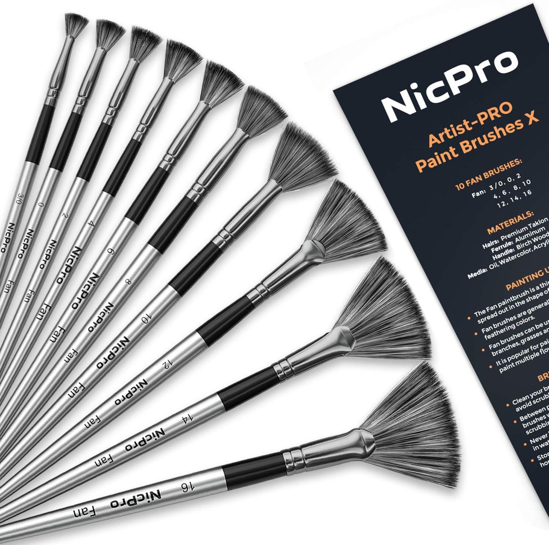 Nicpro Fan Paint Brushes 10 PCS Artist Painting Brush Set Soft Anti-Shedding Nylon Hair Wood Short Handle for Acrylic Watercolor Oil Painting