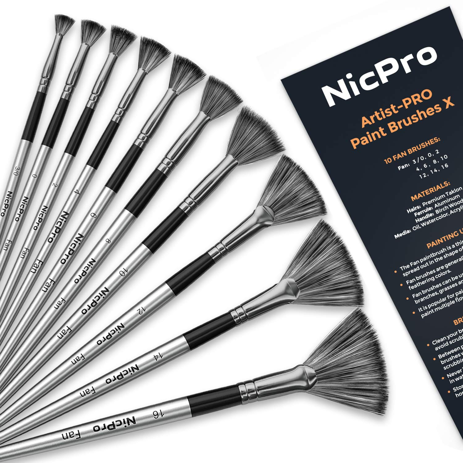 Nicpro Fan Paint Brushes 10 PCS Artist Painting Brush Set for Acrylic Watercolor Oil Painting by Nicpro