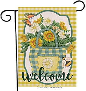 Artofy Welcome Spring Summer Home Decorative Garden Flag, Yellow Buffalo Plaid Check House Yard Sunflower Daisy Outside Decor Butterfly Bee Decoration, Farmhouse Outdoor Small Flag Double Sided 12x18