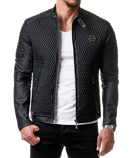 newest 52647 7235c Prestige Homme - Giacca da uomo in pelle sintetica Biker ...