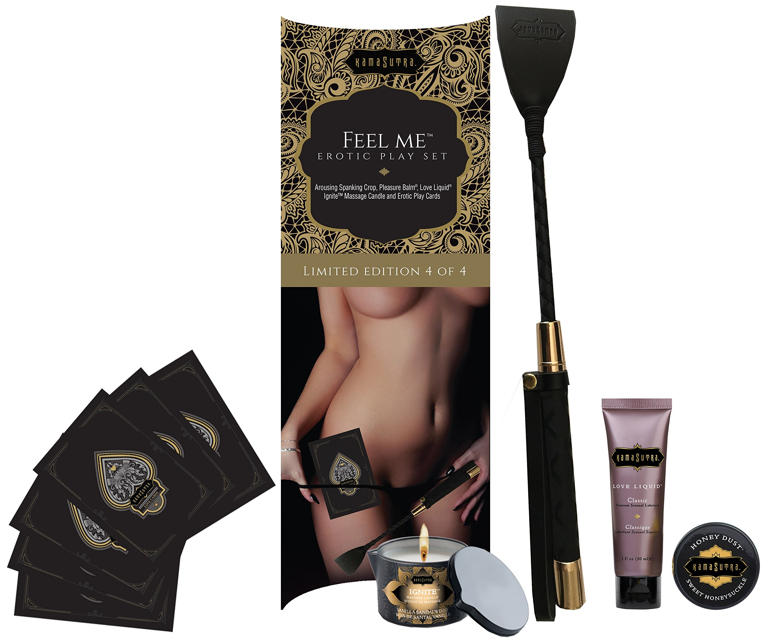 """5 Piece Erotic Playset - """"Feel Me"""" Set - Naughty Spanking Crop, Massage Candle, Pleasure Balm, Love Liquid, 12 Play Cards - Limited Edition Kit by Kama Sutra"""