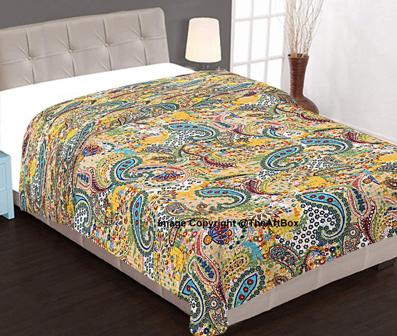 Indian handmade new lahariya pattern kantha quilt Queen size kantha bedspread 108x90 kantha blankets pure cotton kantha throw perfect match
