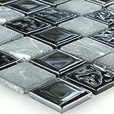 Selbstklebendes Marmor Glas Mosaik Schwarz