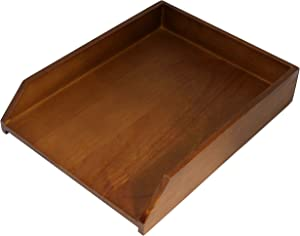 HumanCentric Wood Letter Tray (Black Walnut) | Desk Paper Tray for Files and Documents | Inbox Tray for Office