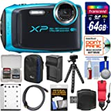 Fujifilm FinePix XP120 Shock & Waterproof Wi-Fi Digital Camera (Sky Blue) with 64GB Card + Case + Battery + Charger + Flex Tripod + Strap + Kit