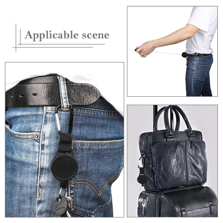 Noir Tusenpy 4 Pi/èces R/étractable Porte-Cl/és Portable R/étractable Badges Reel Clip avec 64cm Corde /à Fil dAcier pour Porte-Badge ID