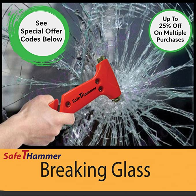 Safethammer fbash0001 seatbelt cutter window breaker car safety safethammer fbash0001 seatbelt cutter window breaker car safety hammer pack of 2 a lifesaving glass breaker car emergency tool amazon fandeluxe Images