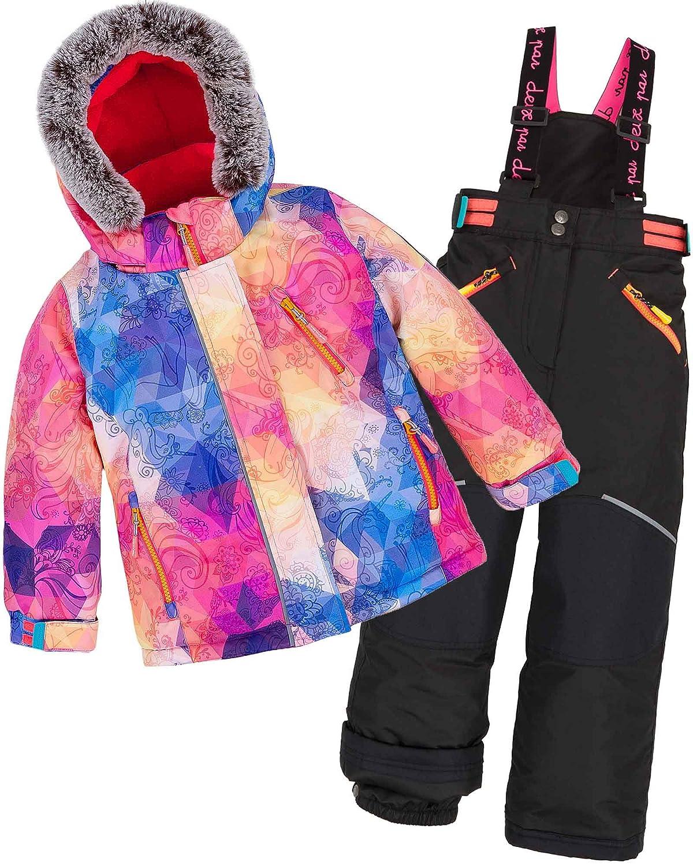 Deux par Deux Girls' 2-Piece Snowsuit Kaleidoscope Unicorn Black, Sizes 5-14