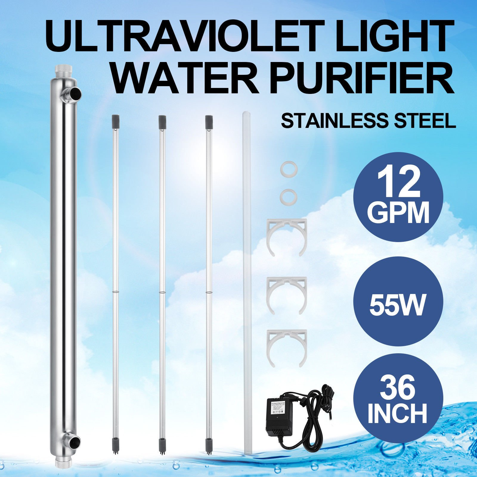 VEVOR Whole House Water Purifier 12 GPM Capacity Water Sterilizer 110V Water Purifier Light Bulb Lamp Life up to 9000 hours (3 Bulbs +1 Quartz Sleeve + 1 Electronic Ballast )
