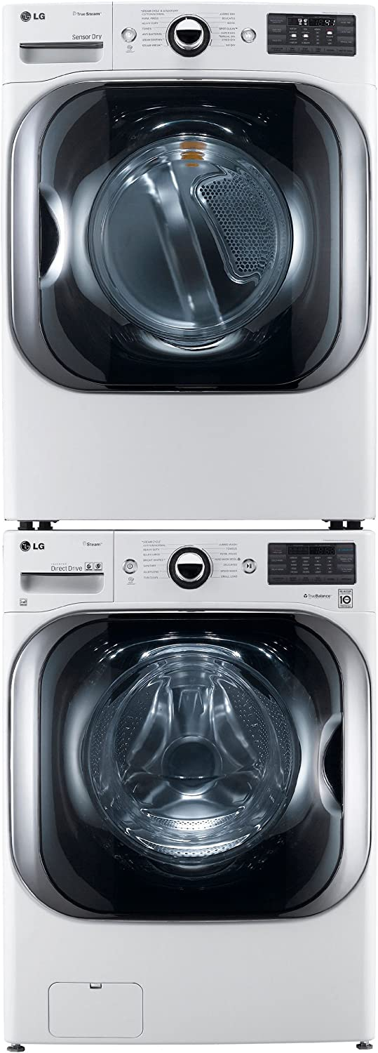 LG White 5.1 Cu Ft Front Load Steam Washer and 9.0 Cu Ft Steam ...