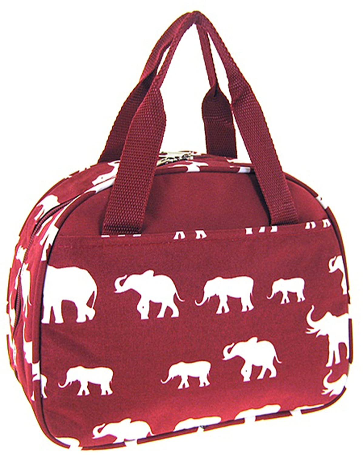 Elephant Print Insulated Lunch Bag Tote (Burgundy Red)