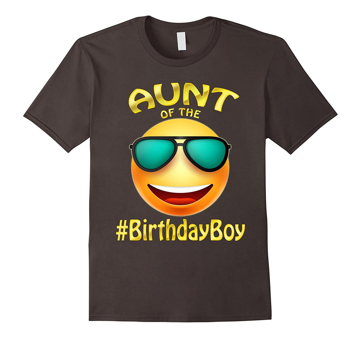 Aunt Of The Birthday Boy Emoji T-Shirt for cute Auntie party