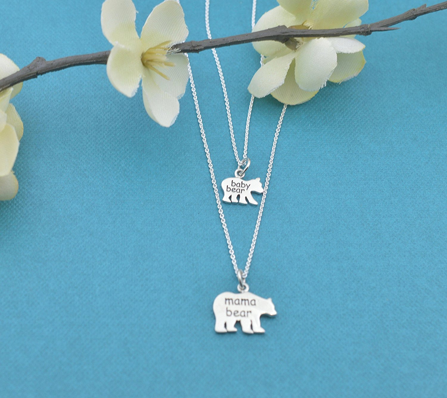 Mama Bear /& Baby Bear Sterling Silver Mother//Daughter Personalized Necklaces