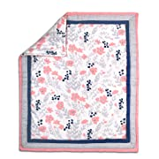 Coral Pink, Navy Blue and Grey Floral Print Baby Crib Quilt by The Peanut Shell