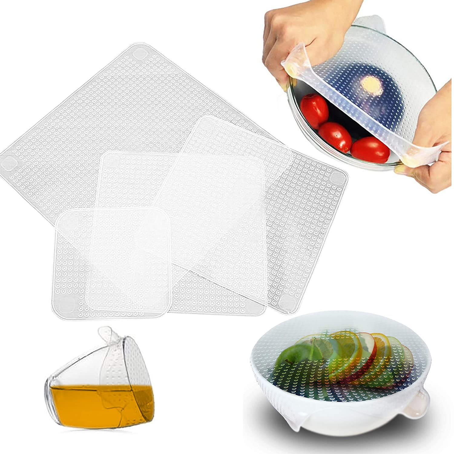 OVA Silicone Food Wrap | Replacement Cover for Tupperware, Bowls, Dishes and Plastic Container | Reusable, Eco-Friendly Storage for Fruit, Fresh Produce | Freezer and Microwave Safe Lids