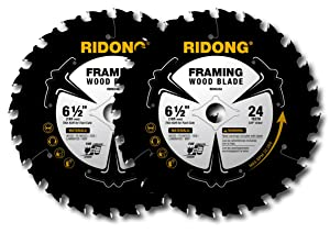 RIDONG 6 1/2 Circular Saw Blade, 24 Tooth with 5/8 Inch Arbor ATB Framing Saw Blades (Two Pack)