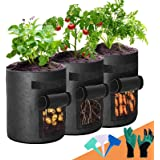 Potato Grow Bags, 3-Pack 7 Gallon 2 Side Windows Plant Grow Bags Heavy Duty Thickened Aeration Fabric Pots with Sturdy Handle