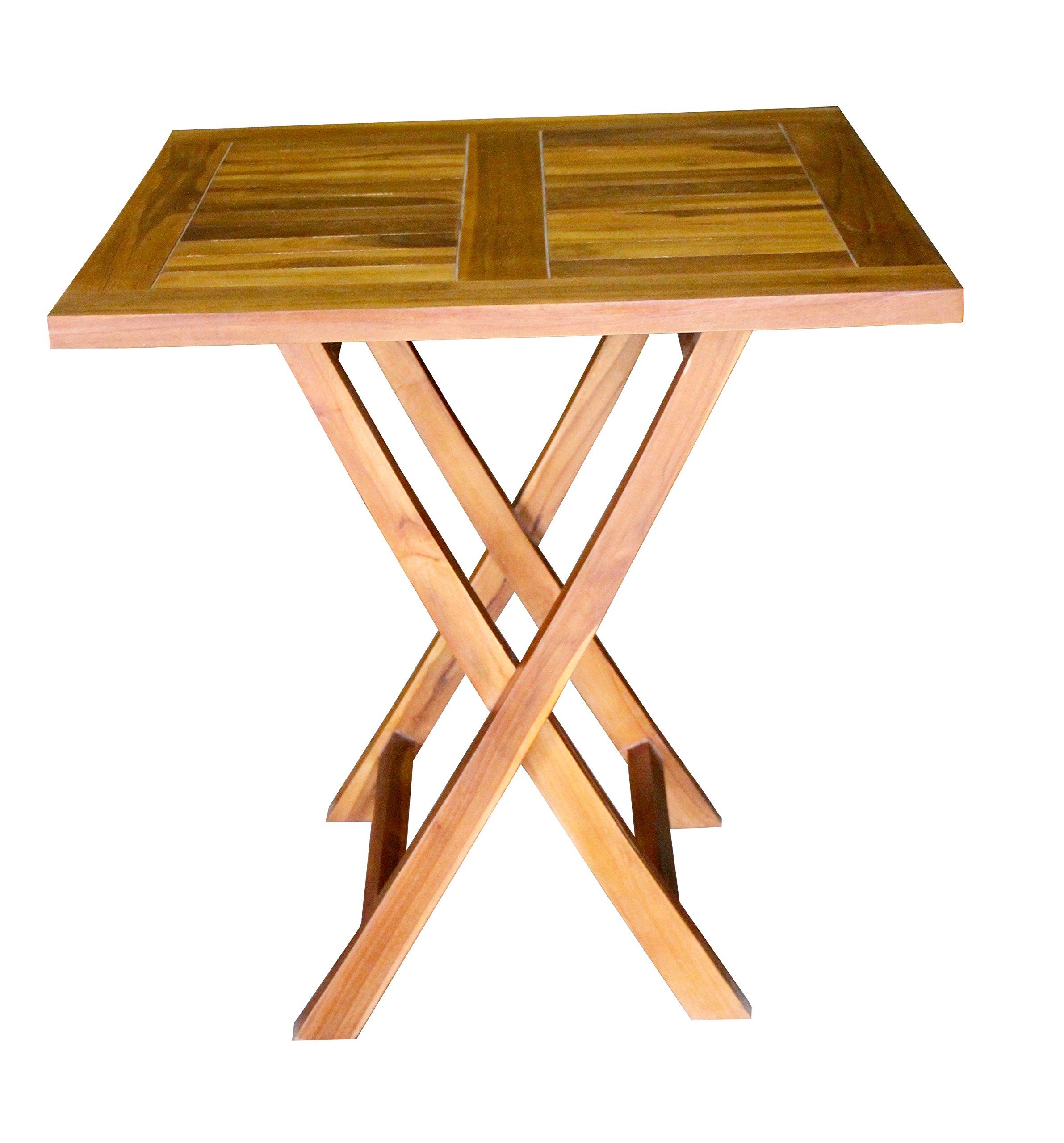 ALA TEAK Wood Patio Outside Garden Yard Folding Table Waterproof Furniture