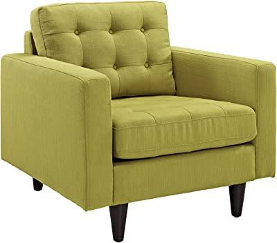 Modway Empress Mid-Century Modern Upholstered Fabric Armchair In Wheatgrass