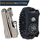 Tactical Survival Paracord Bracelet – Find Your Whistle 100Db LED Flashlight Fire Starter Great for Hiking Camping Hunting Fishing! FREE MULTITOOL 60% BIGGER Compass than Competition!