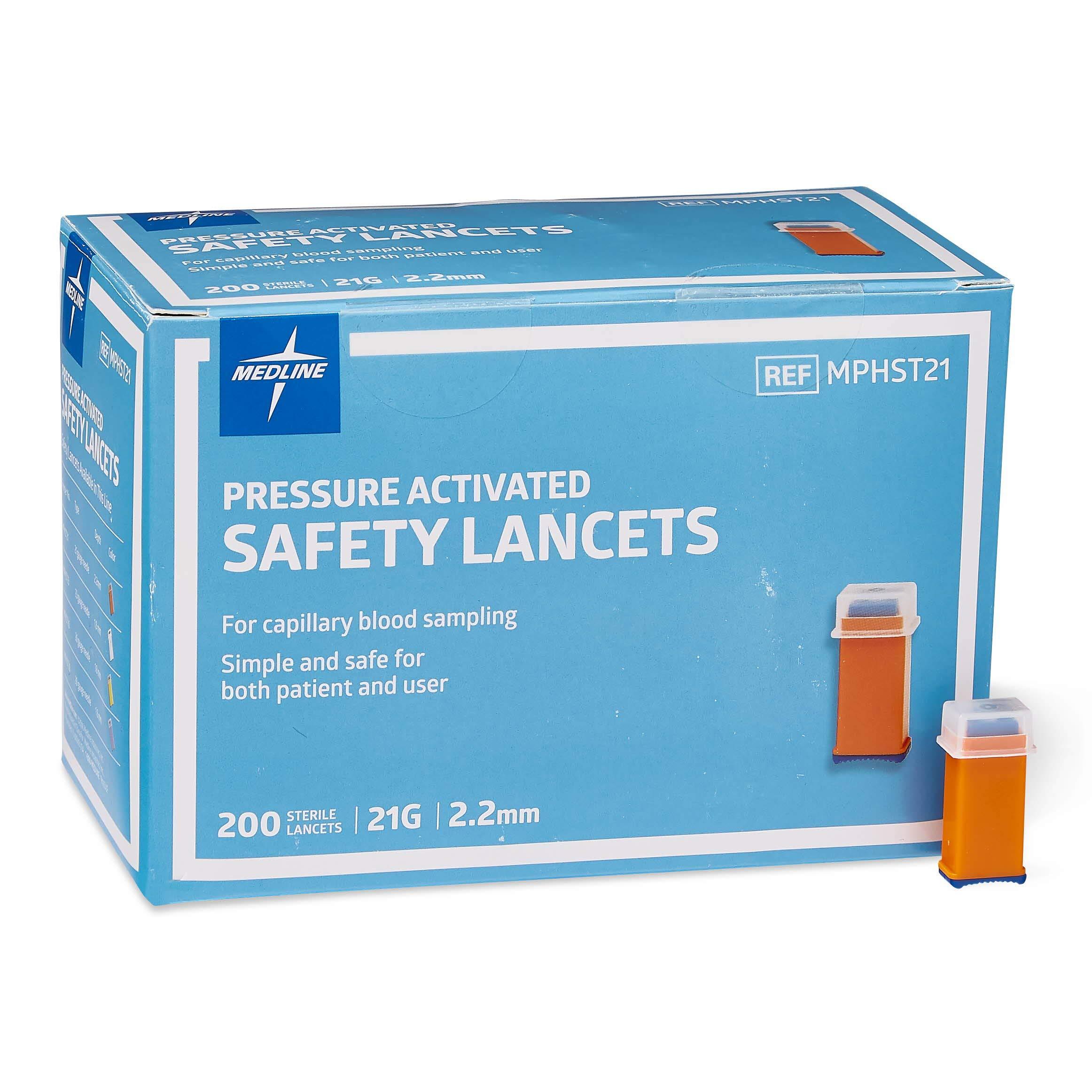 Medline MPHST21Z Pressure Activated Safety Lancets, 21G, 2.2 mm Depth, Box of 200 by Medline