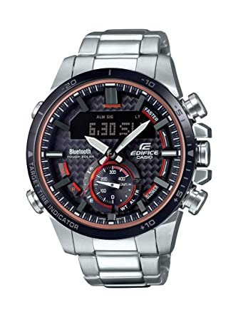 Casio Mens Edifice Quartz Watch with Stainless-Steel Strap, Silver, 22 (Model: ECB-800DB-1ACF)
