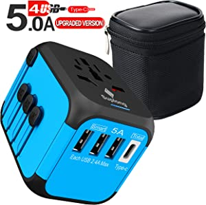 Upgraded Worldwide Universal Travel Adapter,International Power Adapter Fast Wall Charger AC Plug Adaptor with 5.0A High Speed USB Charger & 3.0A Type-C for USA EU UK AUS 200+ Countries (Blue)