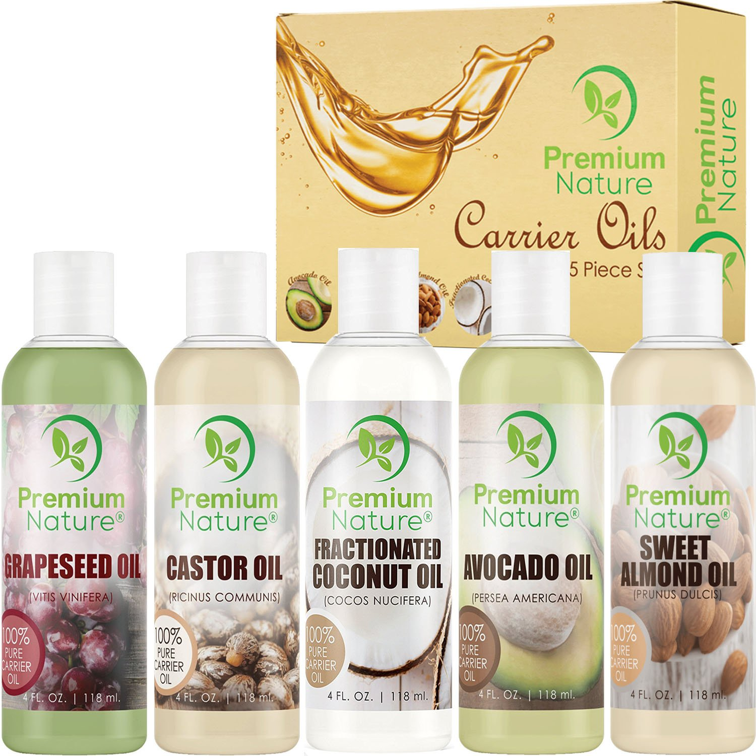 Carrier Oil Gift Set Coconut Oil - Castor Oil - Grapeseed Oil - Avocado Oil & Sweet Almond Oil - Best Massage Oil All Natural - 118 ml Each 5 Piece Variety Pack of Oils Premium Nature Carrier Oils Variety 5 Pack