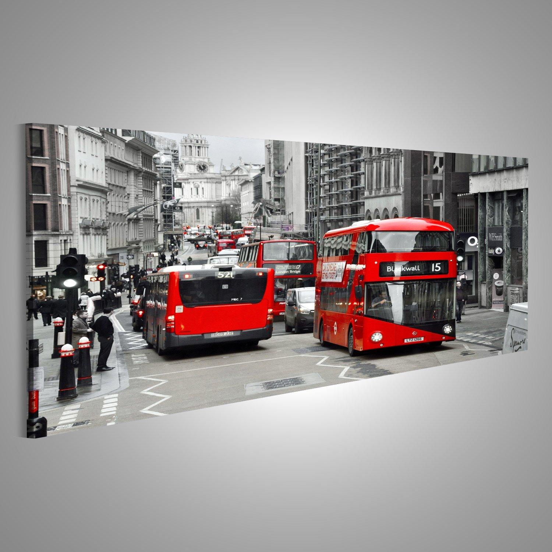 Cuadro Cuadros LONDRES, REINO Kindgom Londres rojo de dos pisos en blanco y negro Impresión sobre lienzo - Formato Grande - Cuadros modernos DSD: Amazon.es: ...
