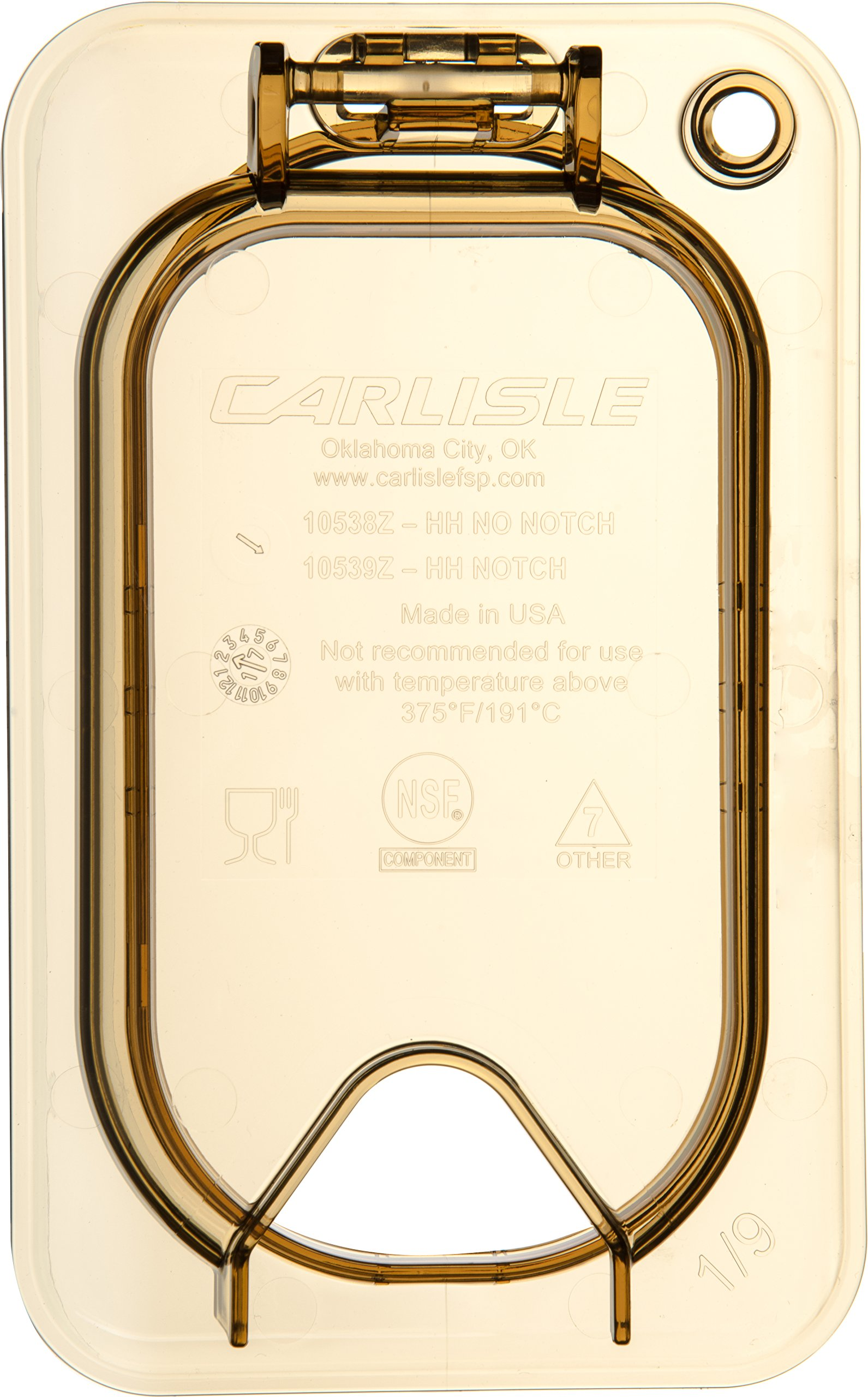 Carlisle 10539Z13 StorPlus EZ Access Hinged High Heat Lid with Handle and Notch, Universal Ninth Size, Amber (Pack of 6) by Carlisle (Image #2)