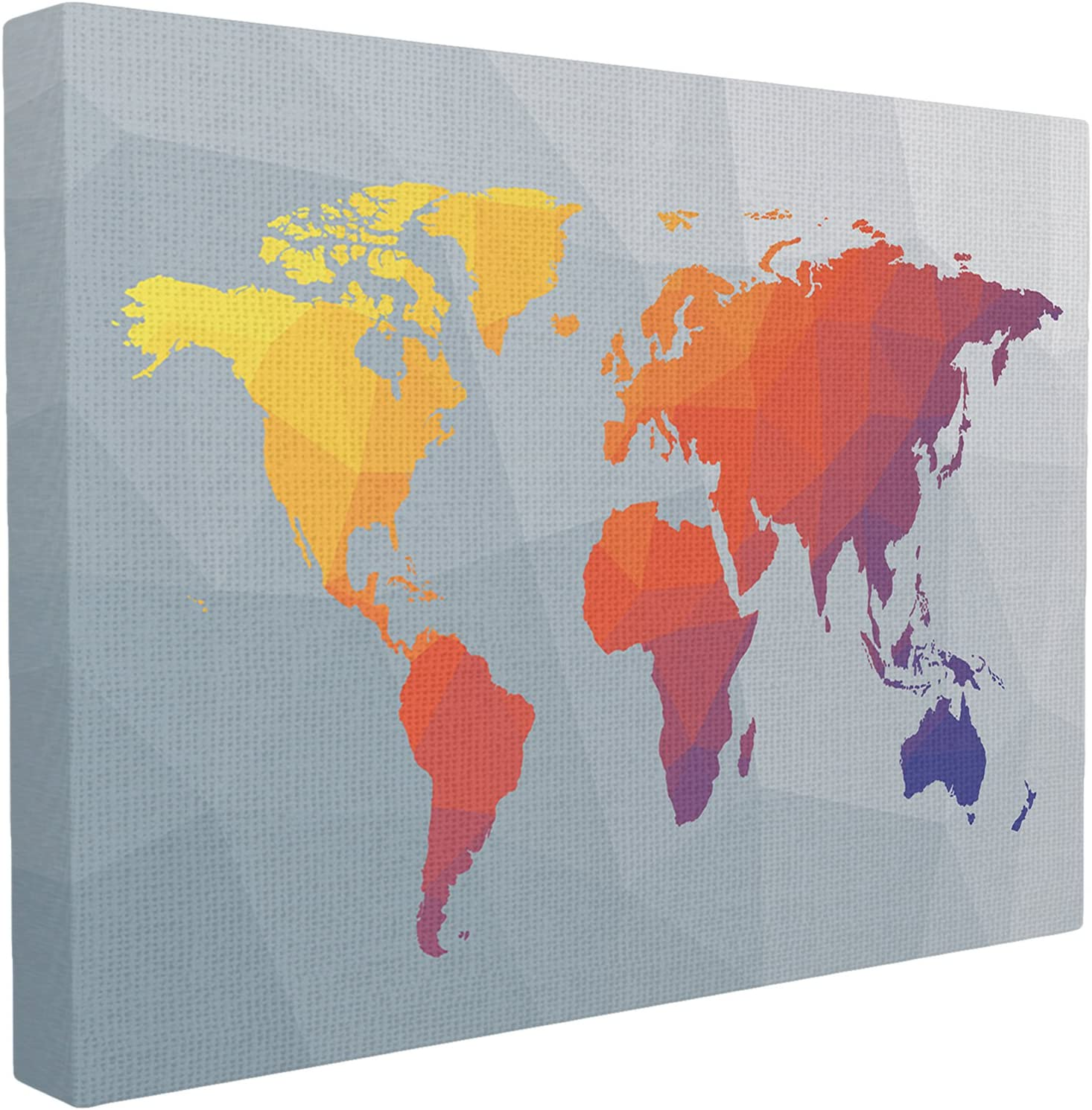 The Stupell Home Decor Collection Polygonal World Map Stretched Canvas Wall Art, 24 x 30, Multicolor