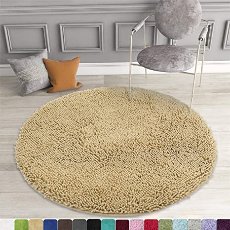 Amazon Com Mayshine Round Bath Mat Non Slip Chenille 3 Feet Shaggy Bathroom Rugs Extra Soft And Absorbent Perfect Plush Carpet For Living Room Bedroom Machine Wash Dry Beige Home Kitchen