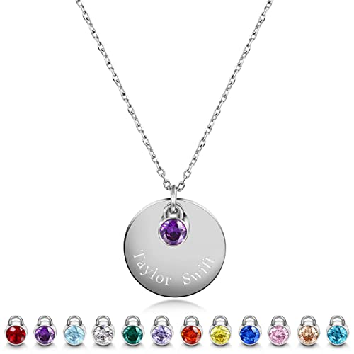 d04502467 JINBAOYING Birthstone Name Necklace Stainless Steel Polished with Engravable  Round Disc Initial Name Pendant Necklace for