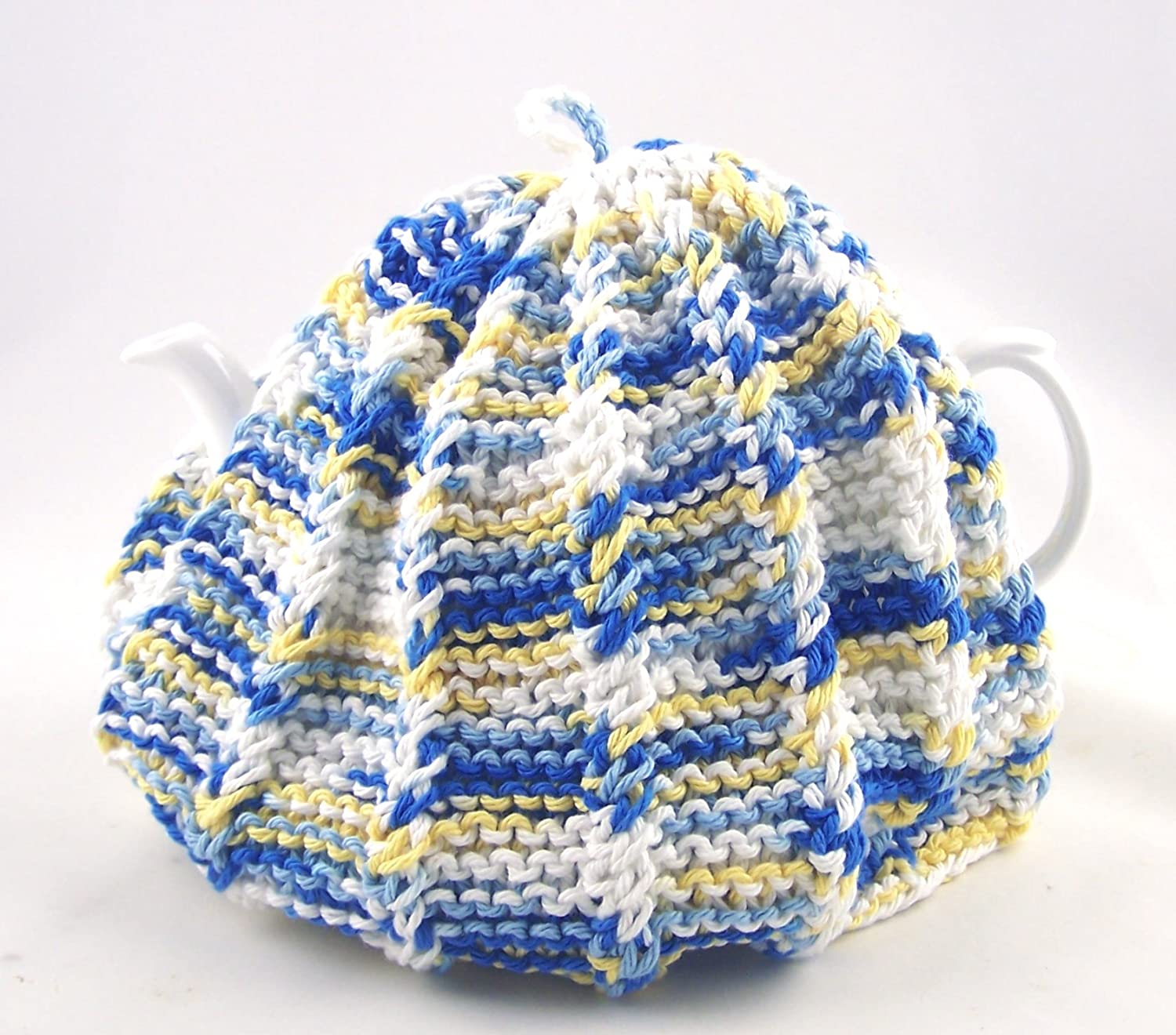 Knit Tea Cozy Cosy Handmade Washable Country Kitchen Colors - Blue and Yellow ChinaFind