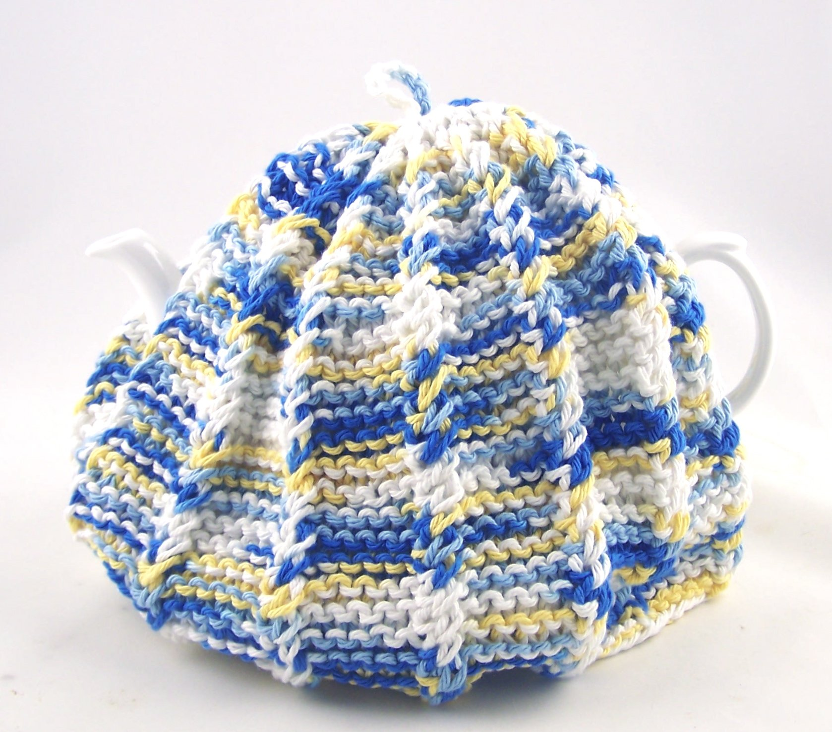 Knit Tea Cozy Cosy Handmade Washable Country Kitchen Colors - Blue and Yellow