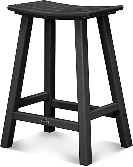 "POLYWOOD 2002-BL Traditional 30/"" Saddle Bar Stool in Black"