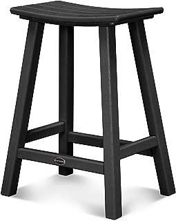 "product image for POLYWOOD 2001-BL Traditional 24"" Saddle Bar Stool, Black"