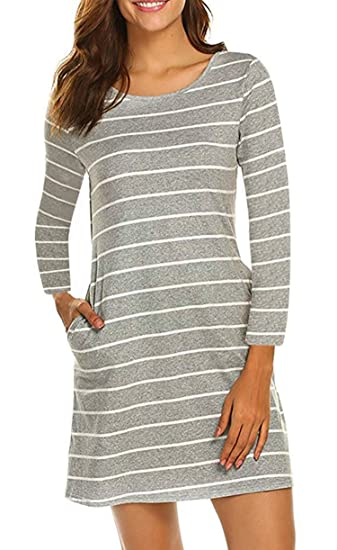 1733d6e40ce2 YANDW Women Long Sleeve T Shirt Dress with Pocket Casual Striped Outfit  Junior Tunic Gray