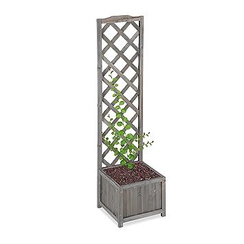 Relaxdays Jardiniere Avec Treillis Espalier Tuteur Plantes
